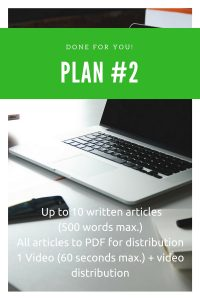 Content marketing pack with articles and video.